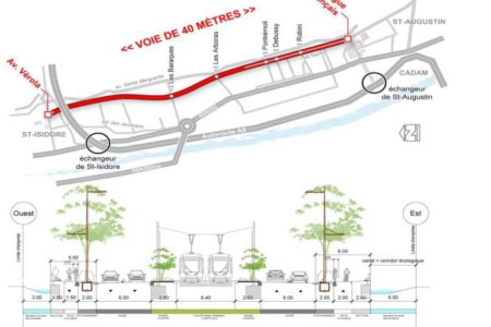 voie structurante de 40 m de largeur dans la basse vallée du Var, objet d'une Opération d'Intérêt Nationale (OIN) « Eco-vallée Plaine du Var »